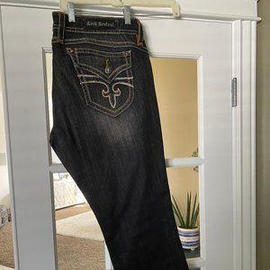Rock Revival Black Denim w/ Gold Stitching Jeans
